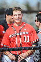 Rutgers University Scarlet Knights infielder Pat Sweeney (11) after a game against the University of Cincinnati Bearcats at Bainton Field on April 19, 2014 in Piscataway, New Jersey. Rutgers defeated Cincinnati 4-1.  (Tomasso DeRosa/ Four Seam Images)