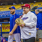 1 April 2016: Mayor of Montreal Denis Coderre, wearing classic Montreal Expos attire, walks on the sidelines with Russell Martin, showing support for the return of Major League Baseball to the city prior to a pre-season exhibition game between the Toronto Blue Jays and the Boston Red Sox at Olympic Stadium in Montreal, Quebec, Canada. The Red Sox defeated the Blue Jays 4-2 in the first of two MLB weekend exhibition games, which saw an attendance of 52,682 at the former home on the Montreal Expos. Mandatory Credit: Ed Wolfstein Photo *** RAW (NEF) Image File Available ***