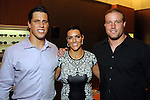 Host Brian Cushing with his wife Megan and teammate Brooks Reed at a VIP preview event for David Yurman's Meteorite Collection Tuesday Oct. 29,2013.  (Dave Rossman photo)