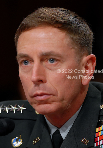 Washington, D.C. - September 10, 2007 -- United States Army General David H. Petraeus, Commander of the Multi-National Force - Iraq (MNF-I), testifies on the future course of the war in Iraq while appearing before a hearing of the United States Senate Foreign Relations Committee, on Capitol Hill in Washington, D.C. on Tuesday, September 11, 2007..Credit: Ron Sachs / CNP.(RESTRICTION: No New York Metro or other Newspapers within a 75 mile radius of New York City)