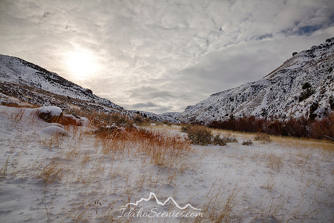 Idaho, South Central, Twin Falls, Rock Creek. Rock Creek Canyon in winter.