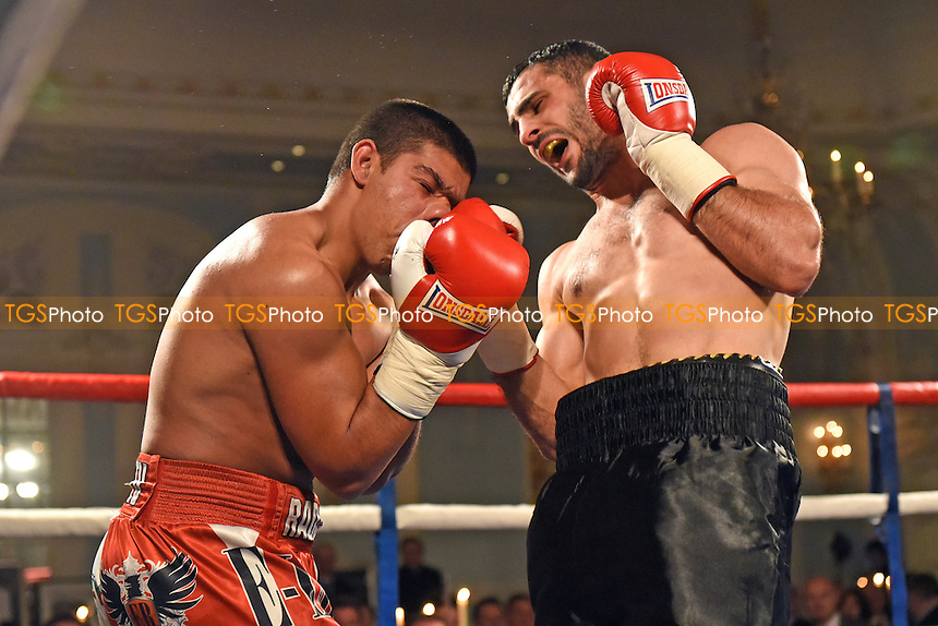 Siar Ozgul (black shorts) defeats Radoslav Mitev during a Boxing Show at the Savoy Hotel on 24th November 2016