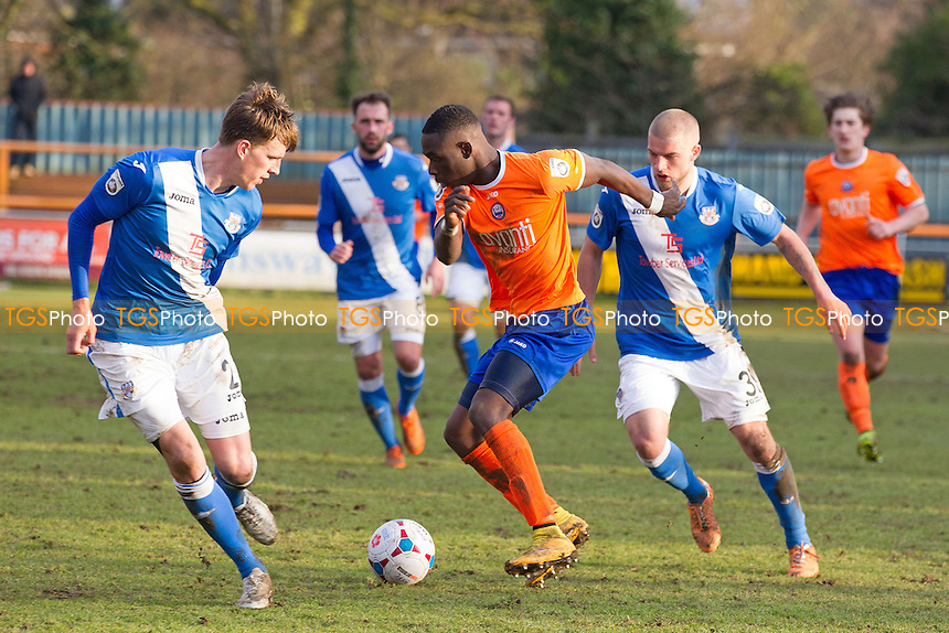 Simeon Akinola of Braintree Town tries to create himself some space under pressure from Mike Green and Luke Coulson of Eastleigh during Braintree Town vs Eastleigh, Vanarama National League Football at the Avanti Stadium, Braintree