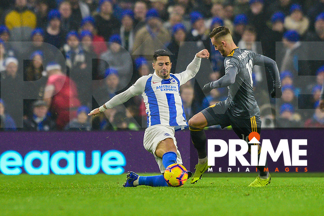 Beram Kayal of Brighton & Hove Albion (7)  and James Maddison of Leicester City (10) challenge for the ball during the Premier League match between Brighton and Hove Albion and Leicester City at the American Express Community Stadium, Brighton and Hove, England on 24 November 2018. Photo by Edward Thomas / PRiME Media Images.