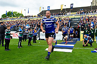 Max Lahiff and the rest of the Bath Rugby team run onto the field. Gallagher Premiership match, between Bath Rugby and Wasps on May 5, 2019 at the Recreation Ground in Bath, England. Photo by: Patrick Khachfe / Onside Images