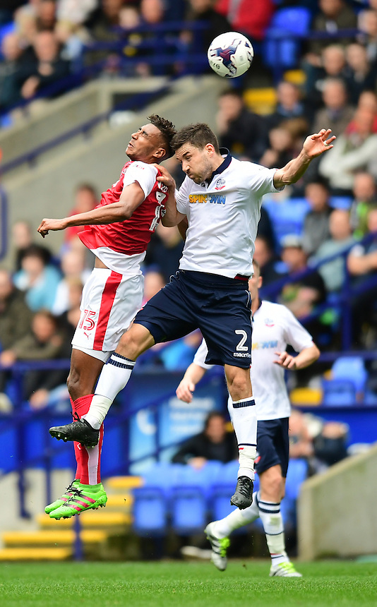 Fleetwood Town's Victor Nirennold vies for possession with Bolton Wanderers's Lewis Buxton<br /> <br /> Photographer Chris Vaughan/CameraSport<br /> <br /> Football - The EFL Sky Bet League One - Bolton Wanderers v Fleetwood Town - Saturday 20 August 2016 - Macron Stadium - Bolton<br /> <br /> World Copyright &copy; 2016 CameraSport. All rights reserved. 43 Linden Ave. Countesthorpe. Leicester. England. LE8 5PG - Tel: +44 (0) 116 277 4147 - admin@camerasport.com - www.camerasport.com