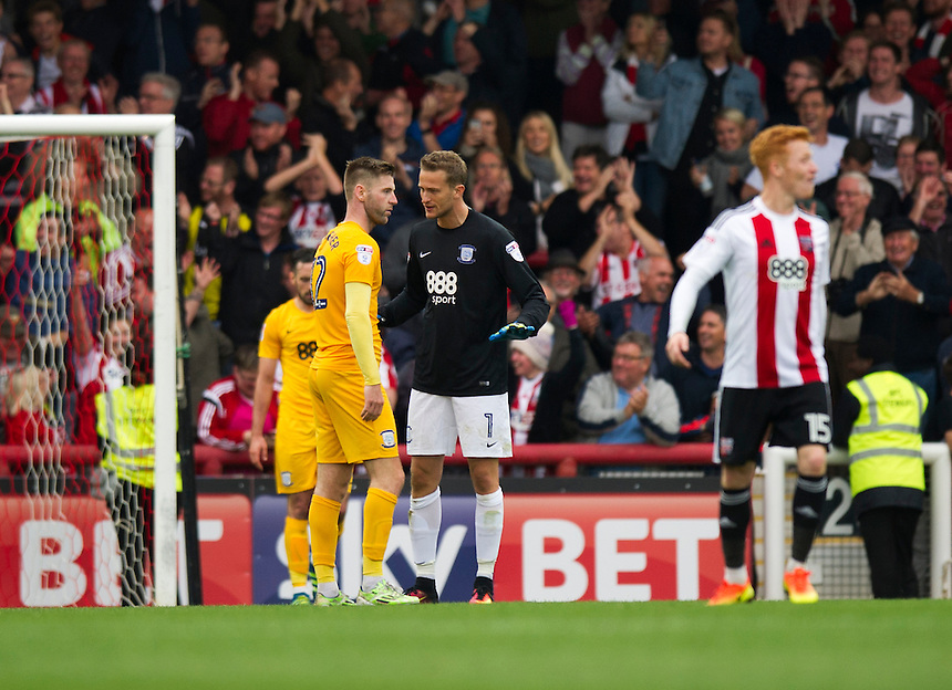 Preston North End's Paul Gallagher remonstrates with Anders Lindegaard<br /> <br /> Photographer Ashley Western/CameraSport<br /> <br /> The EFL Sky Bet Championship - Brentford v Preston North End - Saturday 17 September 2016 - Griffin Park - London<br /> <br /> World Copyright &copy; 2016 CameraSport. All rights reserved. 43 Linden Ave. Countesthorpe. Leicester. England. LE8 5PG - Tel: +44 (0) 116 277 4147 - admin@camerasport.com - www.camerasport.com