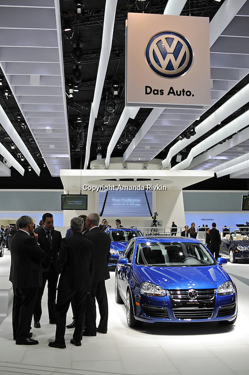 The Volkswagon showroom is seen at the Detroit Auto Show in Detroit, Michigan on January 11, 2009.