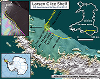 "Pictured: The Ice rift map<br /> Re: Antarctic ice rift close to calving, after growing 17km in 6 days – latest data from ice shelf<br /> The rift in the Larsen C ice shelf in Antarctica has grown by 17km in the last few days and is now only 13km from the ice front, indicating that calving of an iceberg is probably very close, Swansea University researchers revealed after studying the latest satellite data.<br /> The rift in Larsen C is likely to lead to one of the largest icebergs ever recorded.  It is being monitored by researchers from the UK's Project Midas, led by Swansea University.<br /> Professor Adrian Luckman of Swansea University College of Science, head of Project Midas, described the latest findings:<br /> ""In the largest jump since January, the rift in the Larsen C Ice Shelf has grown an additional 17 km (11 miles) between May 25 and May 31 2017. This has moved the rift tip to within 13 km (8 miles) of breaking all the way through to the ice front, producing one of the largest ever recorded icebergs.<br /> The rift tip appears also to have turned significantly towards the ice front, indicating that the time of calving is probably very close.<br /> The rift has now fully breached the zone of soft 'suture' ice originating at the Cole Peninsula and there appears to be very little to prevent the iceberg from breaking away completely."""
