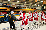 ADRIAN, MI - MARCH 18: Adrian defender Sydney Smith (2) shakes hands with Plattsburgh State forward Melissa Ames (24) after the Division III Women's Ice Hockey Championship held at Arrington Ice Arena on March 19, 2017 in Adrian, Michigan. Plattsburgh State defeated Adrian 4-3 in overtime to repeat as national champions for the fourth consecutive year. by Tony Ding/NCAA Photos via Getty Images)