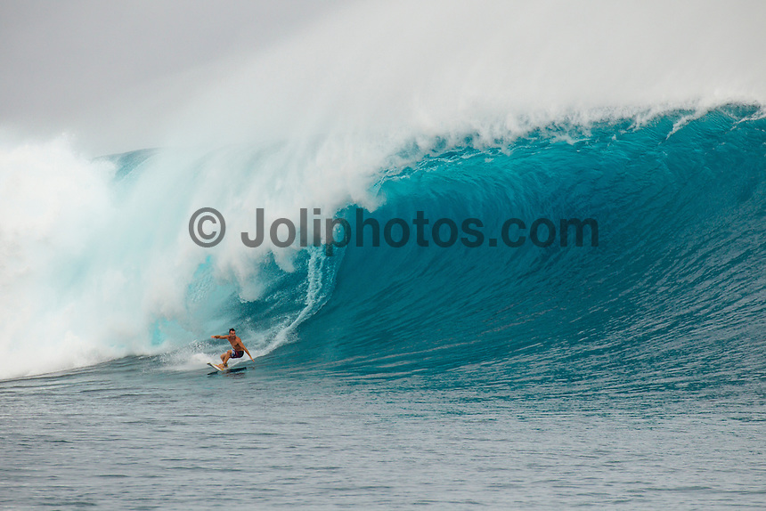 CLOUDBREAK, Tavarua/Fiji (Friday, June 8, 2012) -  Joel Parkinson (AUS) surfing on Filthy Friday. The best day of paddle surfing ever seen at Cloudbreak happen today with the swell in the12'-15' range from the south.  The surf pumped all day with amazing performances from of the world best big wave paddle in surfers. The Volcom Fiji Pro completed the last two heats of Round Two with Bede Durbidge and Kai Otten advancing before being call off for the day. Photo: joliphotos.com