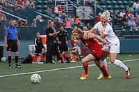 Rochester, NY - Friday June 17, 2016: Portland Thorns FC forward Mallory Weber (26), Western New York Flash defender Abigail Dahlkemper (13) during a regular season National Women's Soccer League (NWSL) match between the Western New York Flash and the Portland Thorns FC at Rochester Rhinos Stadium.