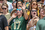 Baylor Bears fans in action before the game between the Duke Blue Devils and the Baylor Bears at the McLane Stadium in Waco, Texas.