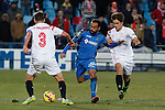 Getafe´s Roberto Lago and Sevilla´s Denis Suarez during 2014-15 La Liga match at Alfonso Perez Coliseum stadium in Getafe, Spain. February 08, 2015. (ALTERPHOTOS/Victor Blanco)