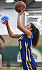 Liz Dwyer #13 of Mattituck shoots from beneath the hoop during the Class B varsity girls basketball Long Island Championship against Carle Place at SUNY Old Westbury on Monday, March 6, 2017. She scored a game-high 25 points to lead Mattituck to a 48-47 win.