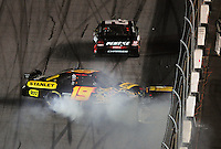 Feb 07, 2009; Daytona Beach, FL, USA; NASCAR Sprint Cup Series driver Elliott Sadler spins during the Bud Shootout at Daytona International Speedway. Mandatory Credit: Mark J. Rebilas-