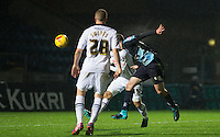 Michael Harriman of Wycombe Wanderers sores his goal during the Sky Bet League 2 match between Wycombe Wanderers and Notts County at Adams Park, High Wycombe, England on 15 December 2015. Photo by Andy Rowland.
