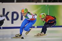 SHORTTRACK: AMSTERDAM: Jaap Edenhal, 04-01-2015, KPN NK Shorttrack, Anke Jannie Landman (#10), Yara van Kerkhof (#3), ©foto Martin de Jong