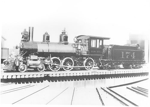 Fireman's-side view of engine #174 at turntable.<br /> D&amp;RGW