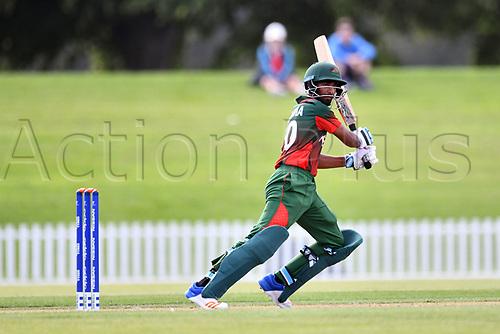 17th January 2018, Hagley Oval, Christchurch, New Zealand; Under 19 Cricket World Cup, New Zealand versus Kenya;  Kenya's captain Sachin Bhudia in action