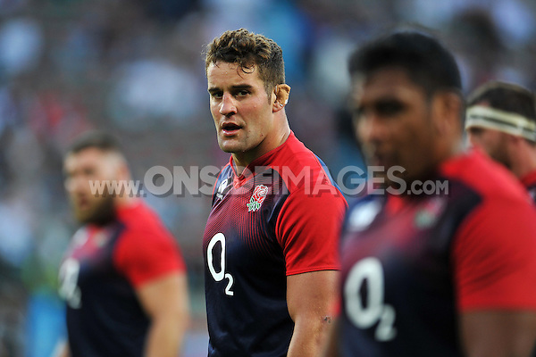 Calum Clark of England looks on during the pre-match warm-up. QBE International match between England and France on August 15, 2015 at Twickenham Stadium in London, England. Photo by: Patrick Khachfe / Onside Images