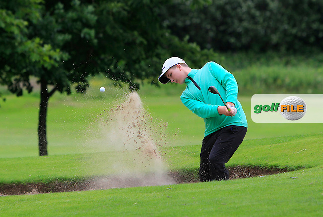 Stephan Campbell (The Island) in a bunker on the 15th during Round 1 of the 2016 Leinster Boys Amateur Open Championship at Mullingar Golf Club on Tuesday 21st June 2016.<br /> Picture:  Golffile | Thos Caffrey