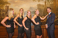 Februari 04, 2015, Apeldoorn, Omnisport, Fed Cup, Netherlands-Slovakia, Official Diner in Het Loo palace, Team Netherlands, l.t.r.: Kiki Bertens, Arantxa Rus, Richel Hogenkamp, Michaella Krajicek and captain Paul Haarhuis<br /> Photo: Tennisimages/Henk Koster
