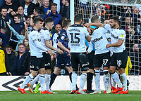 Derby County players celebrate after being awarded a penalty<br /> <br /> Photographer Alex Dodd/CameraSport<br /> <br /> The EFL Sky Bet Championship Play-off  First Leg - Derby County v Leeds United - Thursday 9th May 2019 - Pride Park - Derby<br /> <br /> World Copyright © 2019 CameraSport. All rights reserved. 43 Linden Ave. Countesthorpe. Leicester. England. LE8 5PG - Tel: +44 (0) 116 277 4147 - admin@camerasport.com - www.camerasport.com