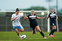 Chicago Red Stars midfielder Julianne Sitch (19) and Sky Blue FC defender Kendall Johnson (5). Sky Blue FC and the Chicago Red Stars played to a 1-1 tie during a National Women's Soccer League (NWSL) match at Yurcak Field in Piscataway, NJ, on May 8, 2013.