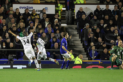 26.10.2011. Liverpool, England. Daniel Sturridge celebrates his goal in action in the Carling Cup match between Everton and Chelsea at Goodison Park. Mandatory Credit ActionPlus.