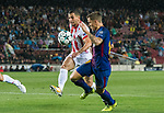 Lucas Digne of FC Barcelona fights for the ball with Omar Elabdellaoui of Olympiacos FC during the UEFA Champions League 2017-18 match between FC Barcelona and Olympiacos FC at Camp Nou on 18 October 2017 in Barcelona, Spain. Photo by Vicens Gimenez / Power Sport Images