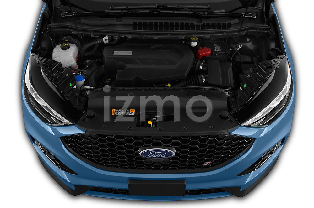Car stock 2019 Ford Edge ST 5 Door SUV engine high angle detail view