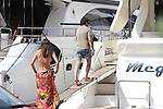 09.08.2014., Budva, Montenegro -  EXCLUSIVE PHOTOS - Albanian businessman Cazim Osmani Felix enjoyed a yacht with his girlfriend Mandi Popovic.They have spent the afternoon on the deck of a boat in the marina Duckley<br /> <br /> Foto &copy;  nph / Halopix