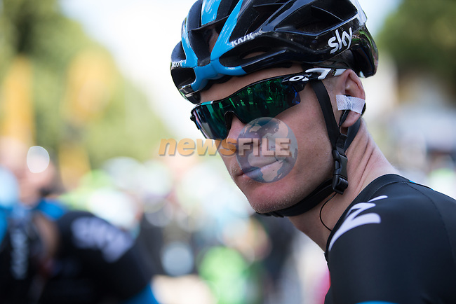 Chris Froome (GBR) Team Sky on the start line in Cambridge before the start of Stage 3 of the 2014 Tour de France running 155km from Cambridge to London. 7th July 2014.<br /> Picture: Brakethrough Media/www.newsfile.ie