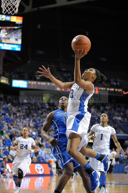 University of Kentucky player Bria Goss drives to the basket and puts it up during the first half of the University of Kentucky Women's Basketball game against Duke at Rupp Arena in Lexington, Ky., on 12/8/11. Uk trailed the game at half  31-34. Photo by Mike Weaver | Staff