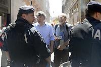 Roma, 14 Giugno 2012.Manifestazione della FIOM CGIL contro il ddl Fornero e la riforma del lavoro.Maurizio Landini segretario della Fiom CGIL davanti il cordone della polizia