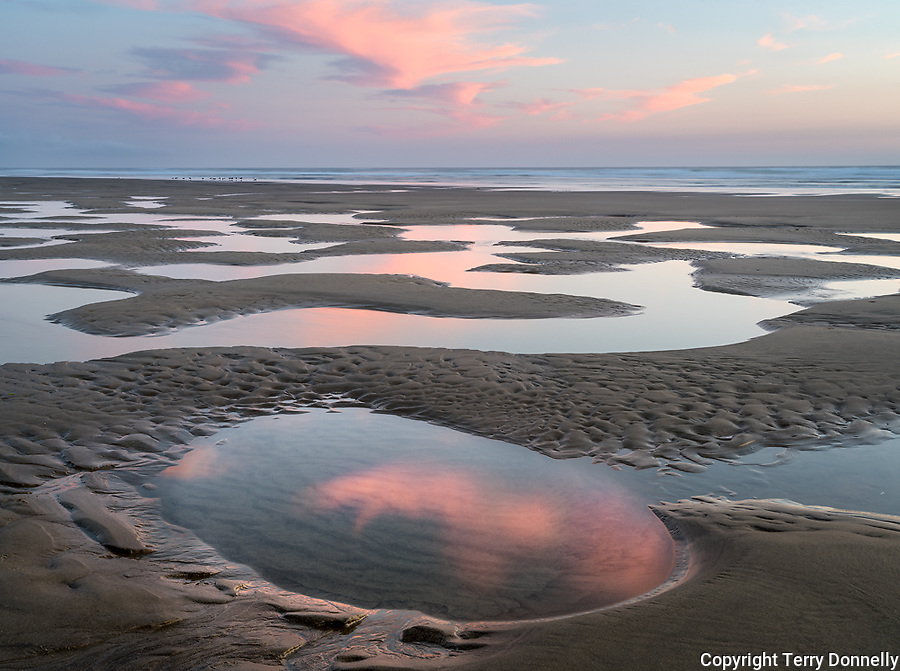 Manzanita, Oregon:<br /> Tide pools reflecting sunset sky, Manzanita beach