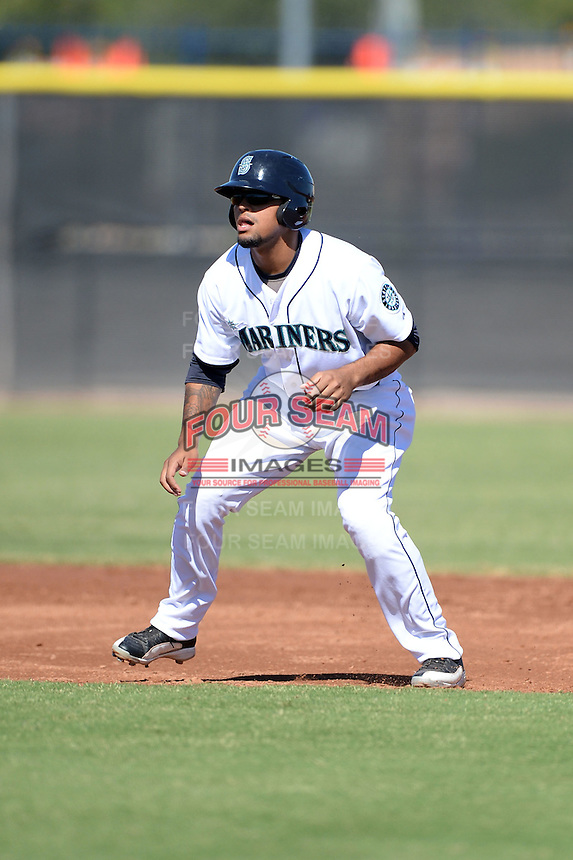 Seattle Mariners outfielder Corey Simpson (13) during an Instructional League game against the Milwaukee Brewers on October 4, 2014 at Peoria Stadium Training Complex in Peoria, Arizona.  (Mike Janes/Four Seam Images)