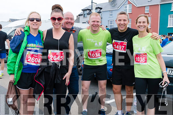 Ciara O'Connor, Jill O'Hare, David O'Brien, Nick Barniville, Ian Doyle and Crona Barrett Doyle (from Tralee) at the start of the Dingle Marathon on Saturday morning.
