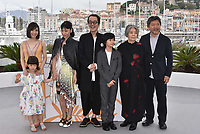 Matsuoka Mayu,  Miyu Sasaki,  Sakura Ando, writer and actor Lily Franky,  Jyo Kairi,  Kirin Kiki and director Hirokazu Kore-Eda attend the photocall for Japanese film 'Shoplifters (Manbiki Kazoku)' during the 71st annual Cannes Film Festival at Palais des Festivals on May 14, 2018 in Cannes, France.<br /> CAP/PL<br /> &copy;Phil Loftus/Capital Pictures
