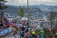 Rui Costa (POR/UAE) finishing on top of Mount Fløyen<br /> <br /> Men Elite Individual Time Trial<br /> <br /> UCI 2017 Road World Championships - Bergen/Norway