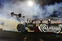 Aug. 31, 2012; Claremont, IN, USA: NHRA top fuel dragster driver Shawn Langdon during qualifying for the US Nationals at Lucas Oil Raceway. Mandatory Credit: Mark J. Rebilas-