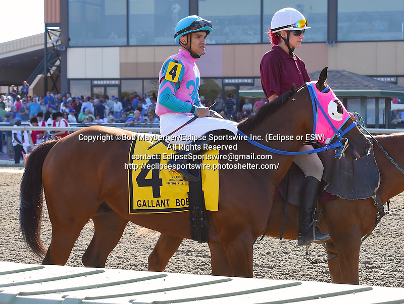 Trouble Kid (no. 4), ridden by Joshua Navarro and trained by Ramon Preciado, wins the 25th running of the grade 3 Gallant Bob Stakes for three year olds on September 19, 2015 at Parx Racing in Bensalem, Pennsylvania.  (Bob Mayberger/Eclipse Sportswire)