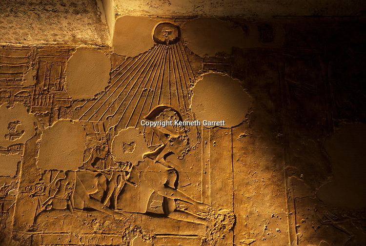 Relief of royal family, Akhenaten, Nefertiti and daughters, tomb of Mahu, 'Chief of Police of Akhetaten',El-Amarna, South Tombs,18th dynasty; Akhenaten; Amenhotep IV; New Kingdom