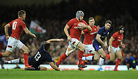 Wales' Jonathan Davies breaks through the Scottish defence <br /> <br /> Photographer Ian Cook/CameraSport<br /> <br /> Under Armour Series Autumn Internationals - Wales v Scotland - Saturday 3rd November 2018 - Principality Stadium - Cardiff<br /> <br /> World Copyright &copy; 2018 CameraSport. All rights reserved. 43 Linden Ave. Countesthorpe. Leicester. England. LE8 5PG - Tel: +44 (0) 116 277 4147 - admin@camerasport.com - www.camerasport.com