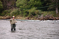 Mann kaster med flue i Tongariro River på New Zealand ----- Man casting in Tongariro River, New Zealand