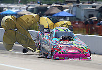 Apr 25, 2015; Baytown, TX, USA; NHRA funny car driver Courtney Force during qualifying for the Spring Nationals at Royal Purple Raceway. Mandatory Credit: Mark J. Rebilas-