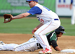 SIOUX FALLS, SD - AUGUST 12:  Landon Klock 19 from Dell Rapids PBR catches a pick off attempt as Brian Duxbury #23 from the Salem Cubs dives safely back to first, Monday night in the second inning during the State Amateur Baseball Tournament at the Sioux Falls Stadium.  (Photo by Dave Eggen/Inertia)