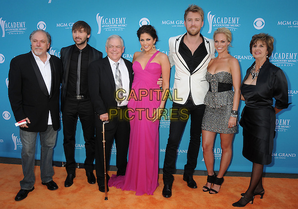 Dave Haywood, Hillary Scott and Charles Kelley of Lady Antebellum.45th Annual Academy Of Country Music Awards held at the MGM Grand Garden Arena, Las Vegas, NV, USA..April 18th, 2010.full length black white grey gray pink dress suit jacket trousers .CAP/ADM/BP.©Byron Purvis/AdMedia/Capital Pictures.