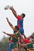 Frtz Lee reaches high for the ball at lineout time. Counties Manukau Premier Club Rugby game between Ardmore Marist and Pukekohe played at Bruce Pulman Park on Saturday April 17th..Pukekohe won the game 25 - 0 after leading 15 - 0 at halftime.
